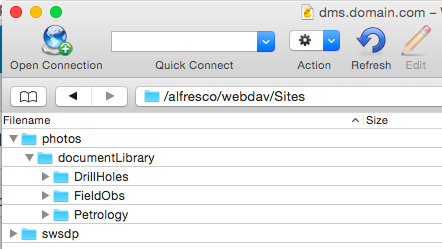 Sites and folders in Alfresco server