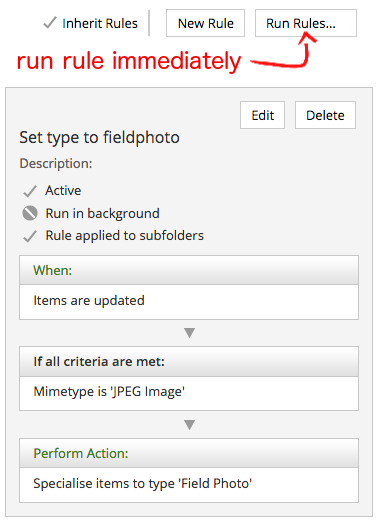 Example rule to set all JPEG files to type 'fieldphoto'