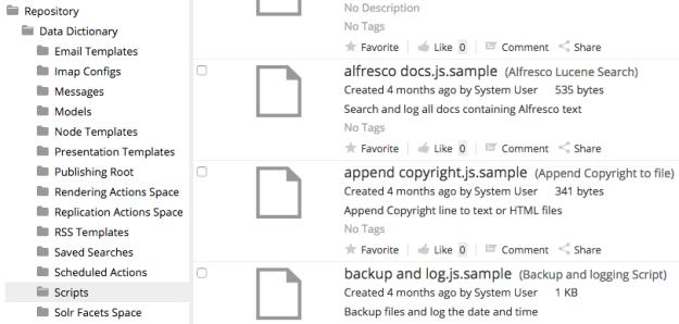 Alfresco scripts folder