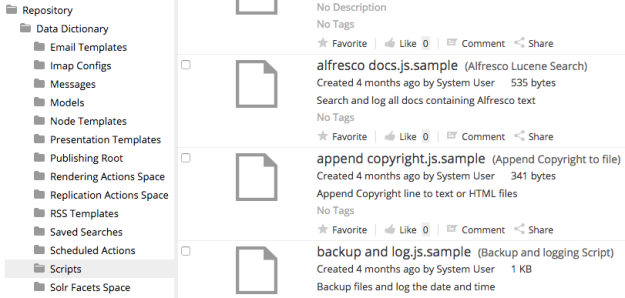 Alfresco scripts folder