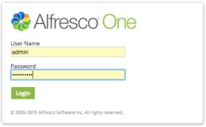 Alfresco login screen