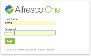 Alfresco login screen