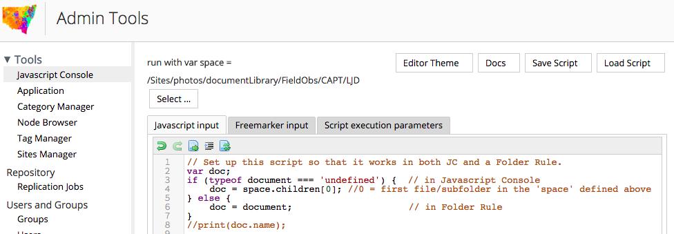 Use javascript console to create a folder rule script in